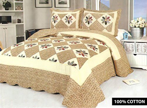 Luxury Cotton-rich Quilted Embroidered 3 Piece Bedding Comforter Bed Set - Double King Size Throw + 2 Pillow Shams (GS9251 Beige)