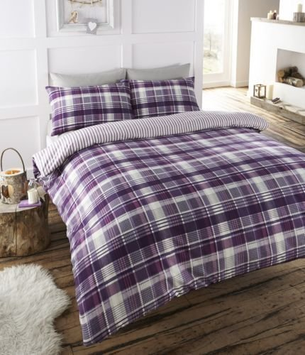 Angus Double Bed Printed Reversible Flannelette Duvet Cover Set (PLUM)