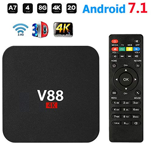 Android TV Box V88 Smart Set Top Box Android 7.1 Box Quad Core 4K WiFi HDMI 8G HD H265 Media Player für Home Entertainment,Schwarz