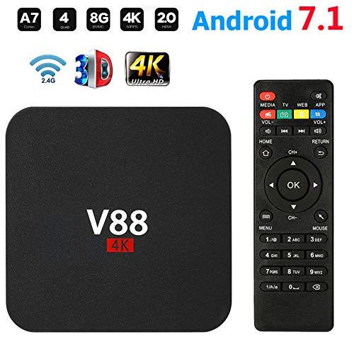 Android TV Box V88 Smart Set Top Box Android 7.1 Box Quad Core 4K WiFi HDMI 8G HD H265 Media Player für Home Entertainment,Schwarz