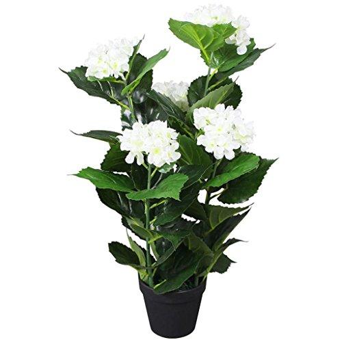 Festnight Plante Hortensia Artificielle avec Pot 60 cm Blanc