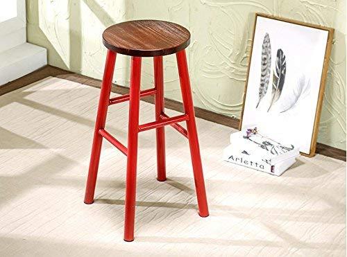 Small seat Atmosphärische Mode Bar Stuhl/Hocker, praktische Esszimmerstuhl, Schmiedeeisen Holz Barhocker,40 * 40 * 65 cm,rot