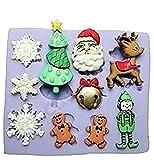Inception Pro Infinite SA029 - Stampo in Silicone per Uso Alimentare di Accessori natailizi - Fiocchi di Neve - Albero di Natale - Viso di Babbo - Natale - Renna - Elfo - Pupazzo di Neve