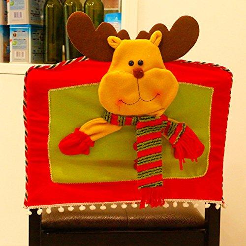 Stuhlhussen Weihnachten Zubita Stuhlbezüge und Stuhlüberzüge wiederverwendbare Niedlich Stuhlsets Christmas Stuhlhussen Weihnachtsdeko ( Elch )