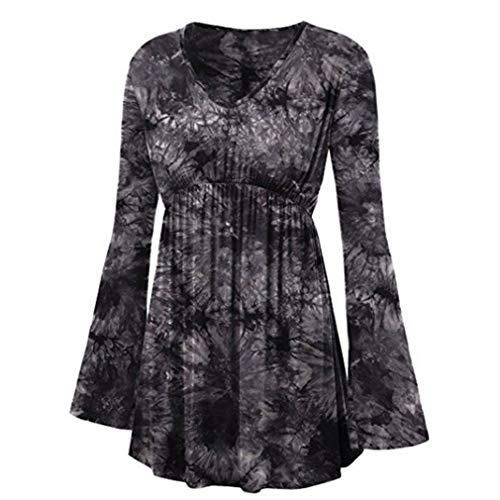 Hibote Blusas de Las Mujeres más el tamaño Camisas góticas Pagoda de Manga Larga Tops Impresas sin Tirantes Camisetas A-Line Vendaje Camisas de otoño S-5XL