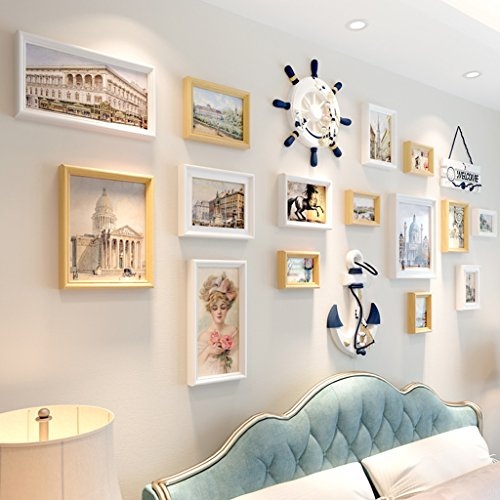 Dekorative Nüsse (JXXDQ - Fotowand Foto Wand mediterran europäischen architektonischen Stil Wohnzimmer dekorative Wand 18 (Stück) Anhänger kreative Rahmen Wand weiß, blaue Nuss (197cm * 95cm / [77in * 37in]) ( Farbe : White walnut ))