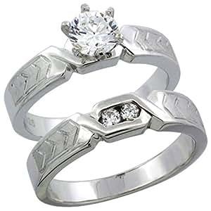 Sterling Silver Diamond Simulant 4.5mm Ladies Bridal Set Chevron Pattern Size J
