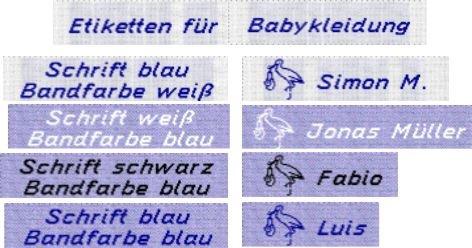 50 gewebte Etiketten mit Motiv Storch (Junge) und Ihrem Namen zur Kennzeichnung von Babykleidung 10mm - Wäsche-Etiketten