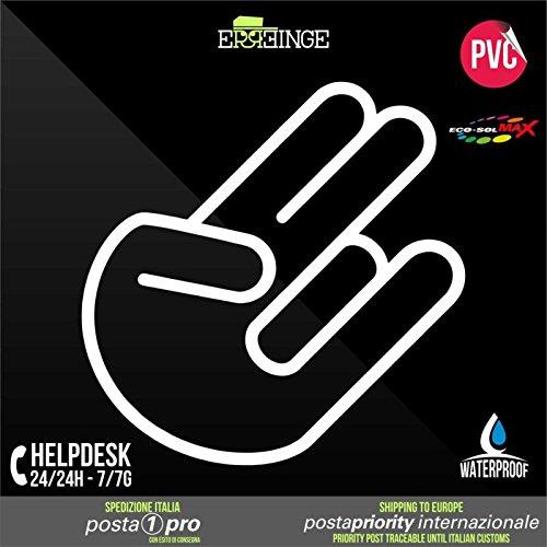 RE-SPACED bianco 12cm - Shocker Rock Hand Rocker Finger JDM DUB Illest Vw Hoonigan Tuning Racing Drift - Aufkleber Decal Transfer Vinyl Wandaufkleber Laptop Auto Motorrad Helm Camper (Anpassbare Notebooks)