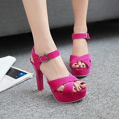 LvYuan Sandali-Casual-Club Shoes-Quadrato-PU (Poliuretano)-Nero Rosso Tessuto almond Red