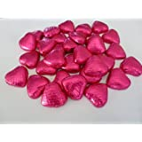 50 HOT PINK CERISE FOIL CHOCOLATE LOVE HEARTS WEDDING FAVOURS