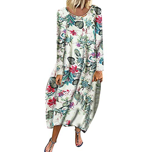 Erwachsene Für Tinkerbell Kostüm Plus Größe - HHyyq Casual Damen Kleider Plus Größe Vintage Boho Print Langarm Langes Kleid Maxi Kleid Lose Party Kleid Oberbekleidung Urlaub Stil Frauen Party Kleid Tops Bluse Sexy Bodycon Rock Strandkleider