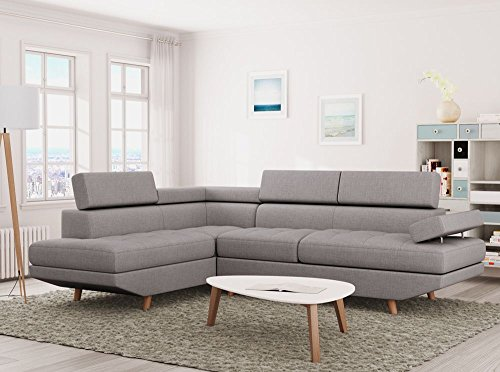 UsineStreet Canapé d'angle LINNEA style scandinave 4 places tissu gris clair - Angle - Gauche