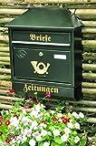 Briefkasten, groß XXL, Premium-Qualität, verzinkt, pulverbeschichtet Walmdach W/gr grün dunkelgrün moosgrün Zeitungsfach Zeitungsrolle Postkasten NEU