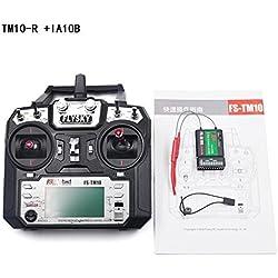 StageOnline Transmisor de RC, FS-TM10 2.4G 10 CH transmisor de múltiples alas de Control Remoto con Receptor para RC Drone/Quadcopter / helicóptero de ala Fija Planeador