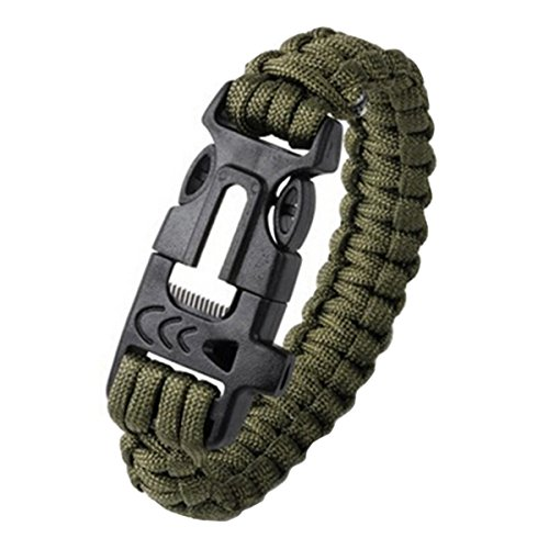 Latinaric 1* Bracelet Réglable Avec Matériel De Survie Et Sifflement De Starter Feu