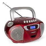 Blaupunkt Boombox B 110 PLL, Kinder CD Player, Hörbuch Funktion und USB mit Kassettenplayer, tragbares CD-Radio, Aux In, Kopfhöreranschluss, PLL UKW Tuner (Rot)
