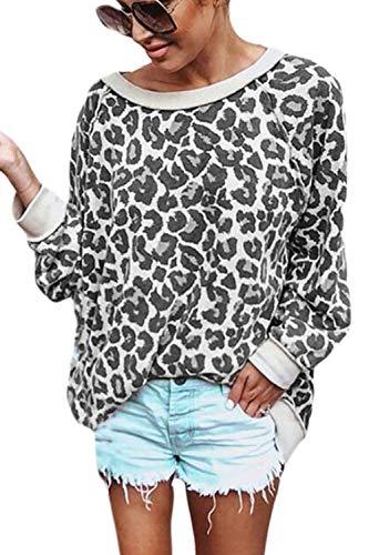 Jersey para Mujer Sudadera con Estampado De Leopardo Manga Larga Suéter Tops Gris S