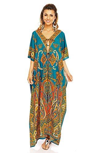 Ladies Full length Oversized Maxi Kimono Tunic Kaftan Gown Dress