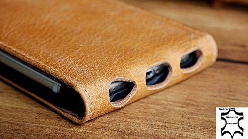 Original Akira Hand Made [Echt Leder] Handyhülle Apple iPhone 6 / 6S Cover Handgemacht Case Schutzhülle Etui Flip Wallet Pen [DEUTSCHER FACHHANDEL] Braun Flip Braun