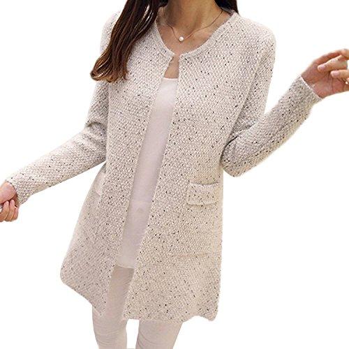 Minetom Donna Knit Cardigan Maniche Lunghe Jumper Outwear Maglia Jacket Sweatshirt Tops con Tasca Beige