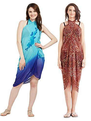 Frauen Faux Georgette Beach Wear Wrap Kombination von 2 Sarong Animal Print & Floral Gedruckt Pareo Badeanzug Vertuschen (S137_Red & Sky Blue) Animal Print Faux Wrap