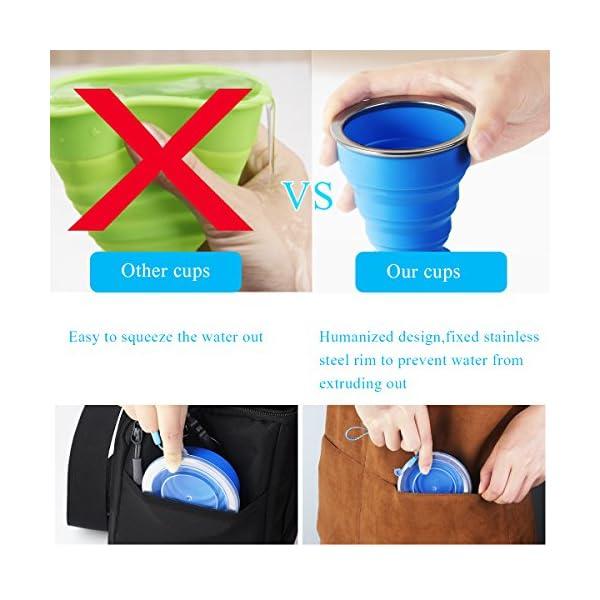 WEINAS 2 pcs Vaso de Agua de Silicona Plegable Portátil Retráctil 200ML Botella de Agua Reutilizable Taza Vaso de Viaje… 2