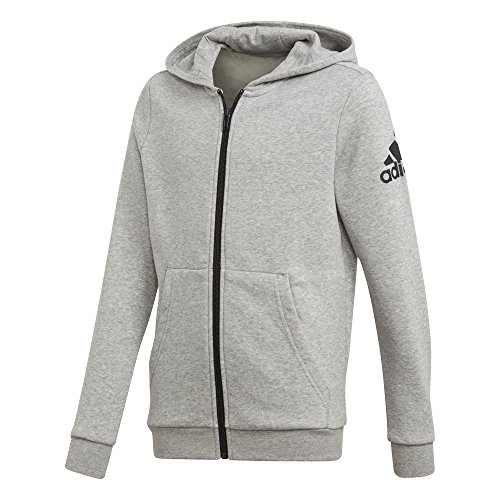 adidas Jungen Logo Full-Zip Hoodie, Medium Grey Heather/Black, 176