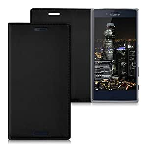 Celltone (TM) Sony Xperia X Black color Artificial Leather Flip Cover PU Leather Phone Cover Case