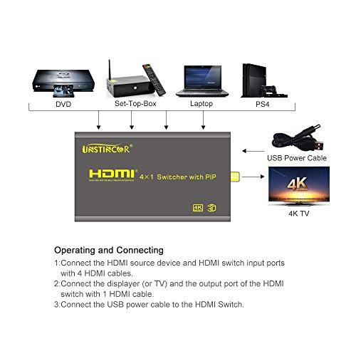 PIP HDMI Switch, Unstincer 4K 4 Ports HDMI Switcher Video