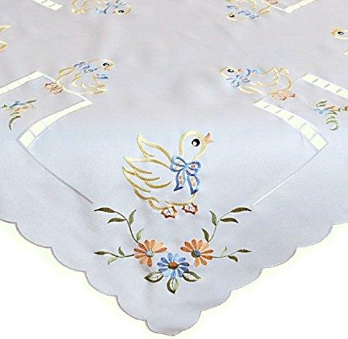 Tischdecke 85x85 cm OSTERN Weiß Ente Blumen Bunt Osterdecke Ostertischdecke