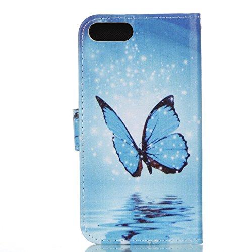 iPhone 8 Plus Lederhülle, iPhone 7 Plus Ledertasche,Vandot Abnehmbare Magnet Flip Case Ledertasche Schutzhülle für iPhone 8 Plus/iPhone 7+ Plus Detachable Leder Huelle Stand Halter Magnetverschluss Kr Blau Schmetterling