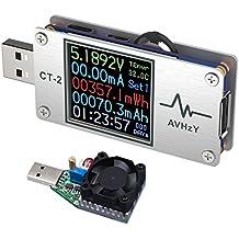 AVHzY USB Tester Multímetro Digital de Potencia de Corriente de Carga, para Medir Carga y Velocidad de Carga en Cables, Baterías, Power Banks, etc. Con Carcasa de Metal. Detector de Carga de Corrient