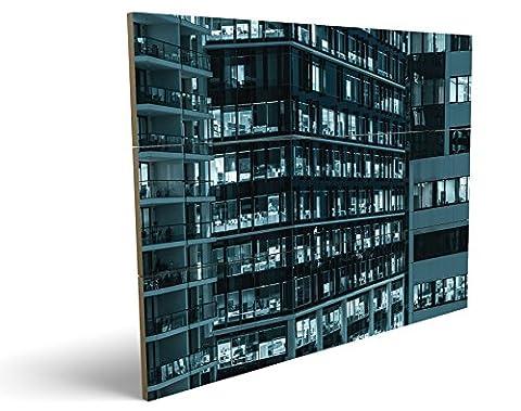 Bürokomplex, qualitatives MDF-Holzbild im Drei-Brett-Design mit hochwertigem und ökologischem UV-Druck Format: 100x70cm, hervorragend als Wanddekoration für Ihr Büro oder Zimmer, ein Hingucker, kein Leinwand-Bild oder (Zoom Film Kostüm)