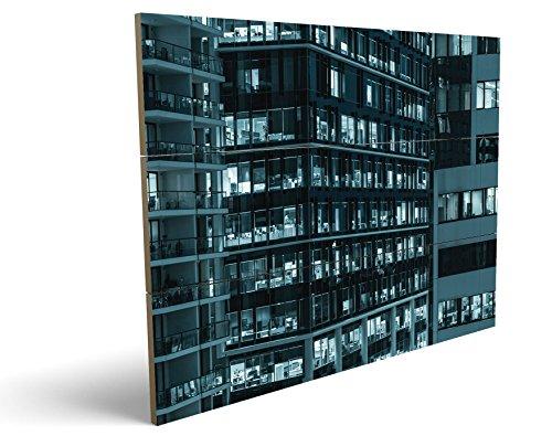 Bürokomplex, qualitatives MDF-Holzbild im Drei-Brett-Design mit hochwertigem und ökologischem UV-Druck Format: 100x70cm, hervorragend als Wanddekoration für Ihr Büro oder Zimmer, ein Hingucker, kein Leinwand-Bild oder Gemälde