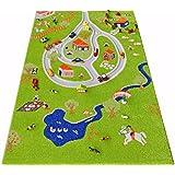 Little Helper Exclusivo Grueso - Alfombra para niños, tema finca con estanque y carretera tridimensional (100 x 150 cm)