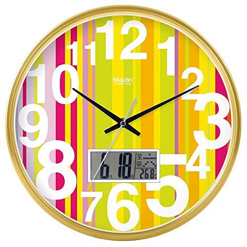 DIDADI Wall Clock Kreisförmige Uhrenbatterie mute Wanduhr hinter dem Motor Schlafzimmer beigefügte Tabelle Herr Ding clock Kalender Quarzuhr Wohnzimmer, 12 LCD, Gold Edition