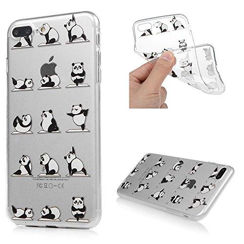 Galleria fotografica iPhone 7 Plus Cover, Custodia Morbida Silicone TPU Flessibile Gomma - MAXFE.CO Case Ultra Sottile Cassa Protettiva per iPhone 7 Plus - Panda Yoga