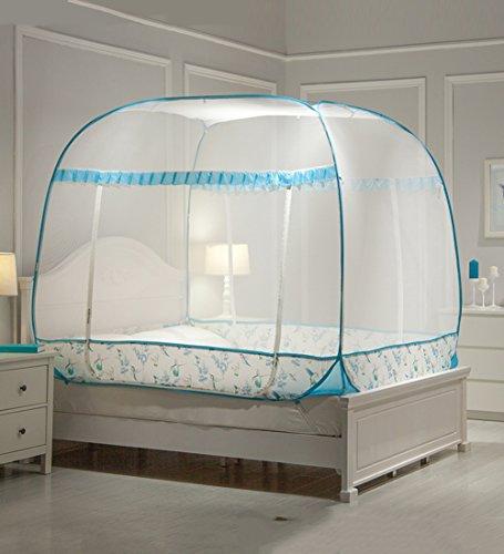 LIQICAI Moskitonetz Einfache Einstellung Bequeme 3-Türer Starker elastischer Stahl Wir Insektenschutz, 4 Farbe 6 Größe Optional ( Farbe : 2#Blue , größe : 1.80X2.00X1.50M ) (Raum Kleinkind Bett)