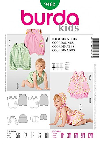 Burda Schnittmuster 9462 Babies Dress, Overall &Panty, Alter: 1-12 Monate