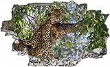 Jaguar Baumstamm Wildnis Natur Wandtattoo Wandsticker Wandaufkleber C0034 Größe 120 cm x 180 cm