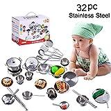 Wokee 32 Stücke Silber Kochgeschirr aus Edelstahl,Zubehör für Kinderküchen,Küche Spielzeug Kochgeschirr Kochutensilien Töpfe Pfannen Geschenk