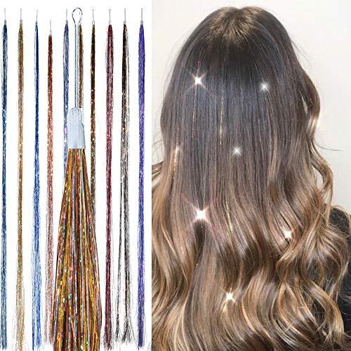 Metallischer Mix, Glitzernde Haarsträhnen (100) - HAIR DAZZLE - Sommer, Zubehör für Festival-Haare für Mädchen, glitzernde Haarverlängerung, Bälle, Glitzer-Partys - Glitzer-clip