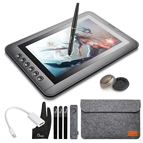 Parblo mast10 10 zoll 1080P HD Grafikmonitor Drawing Pen Display Zeichnen Grafiktablett, Grafik Zeichnung Tablette schwarz, Wireless Stift, HDMI Adapter für Mac PC Schreibtisch Laptop