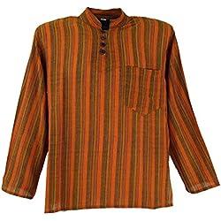 Guru-Shop, Camisa a Rayas Nepal Fisher Goa Camisa Hippie, Naranja, Algodón, Tamaño:44, Camisas de Hombre