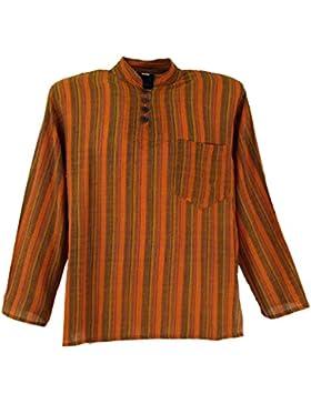 Nepal pescatori camicia a righe Goa Hippie camicia arancione/alevros camicie