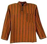 Guru-Shop Nepal Fischerhemd Gestreiftes Goa Hippie Hemd, Herren, Orange, Baumwolle, Size:48, Männerhemden Alternative Bekleidung