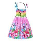 Qlan ragazze Bohemian Abiti prendisole floreale senza maniche Rainbow Beach con collana