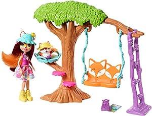 Enchantimals Felicity Fox con mascota Flix en jardín divertido, muñeca con mascota y accesorios (Mattel FRH45)