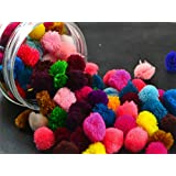 The Design Cart Mixed Colors Pack of Wool Pom Poms for Crafts and Decoration Purposes, 2 cm (Pack of 100 Pieces)